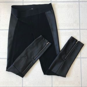Pleather leggings with zipper